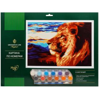 "Картина по номерам Greenwich Line ""Царь зверей"" A3, с акриловыми красками, картон, европодвес"