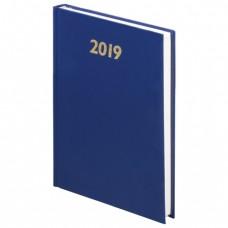 Ежедневник датированный 2019, А5, твердый переплет, обложка бумвинил, синий, 145х215 мм, BRAUBERG