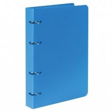 "Тетрадь на кольцах, 80 л., BRAUBERG, А5, 160х205 мм, клетка, обложка пластик, ""Голубой"""