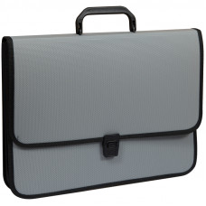 Папка-портфель 2 отделения OfficeSpace, А4+, 370*280*120мм, на замке, серый
