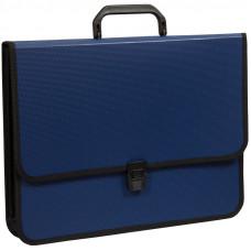 Папка-портфель 2 отделения OfficeSpace, А4+, 370*280*120мм, на замке, синий