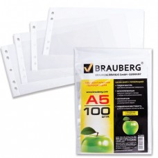 Папки-файлы перфорированные, А5, BRAUBERG, комплект 100 шт., горизонтальные