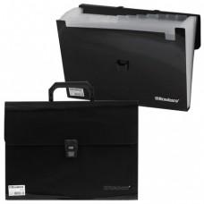 Портфель пластиковый BRAUBERG, А4, 13 отделений, чёрный