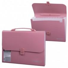 Портфель пластиковый BRAUBERG, А4, 13 отделений, розовый