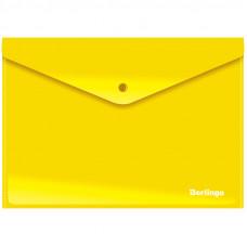 Папка-конверт на кнопке Berlingo, А4, 180мкм, непрозрачная, желтая