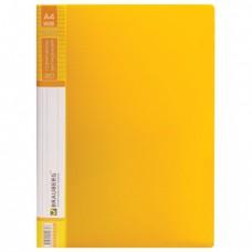 """Папка 20 вкладышей BRAUBERG """"Contract"""", желтая, вкладыши-антиблик, 0,7 мм, бизнес-класс"""