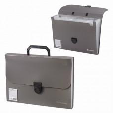 """Портфель пластиковый BRAUBERG, """"Проект А4"""", 13 отделений, серый"""