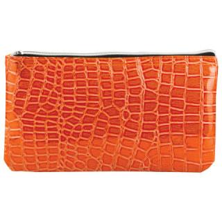 "Пенал-косметичка BRAUBERG под крокодиловую кожу, ""Сафари"", оранжевый, 24х13х1 см"
