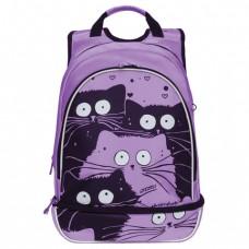 Рюкзак GRIZZLY школьный, анатомическая спинка, девочка, Коты лаванда, 30х41х19 см