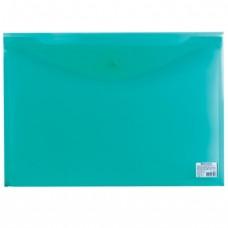 Папка-конверт с кнопкой BRAUBERG, А3, 180 мкм, прозрачная, зеленая