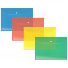 Папка-конверт на кнопке Berlingo, А4, 140мкм, прозрачная, клетчатая запечатка, ассорти