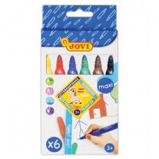 """Фломастеры утолщенные JOVI """"Maxi"""", 6 цветов, трехгранные, для малышей, вентилируемый колпачок"""