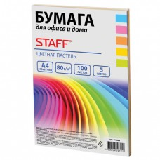 Бумага цветная STAFF color, А4, 80 г/м2, 100 л., микс (5 цв. х 20 л.), пастель, для офиса и дома