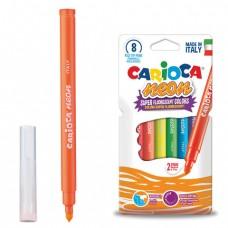 """Фломастеры CARIOCA (Италия) """"Neon"""", 8 цветов, флуоресцентные, суперсмываемые"""