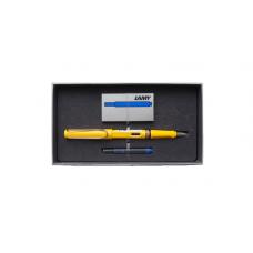 Набор ручка перьевая LAMY Safari, F корпус желтый+ картриджи синие 5 шт.