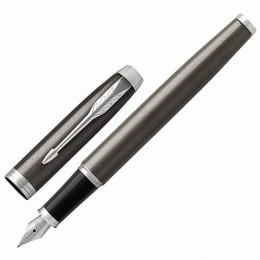 """Ручка перьевая PARKER """"IM Core Dark Espresso CT"""", кофейный лак с круговой полировкой, хром, синяя"""