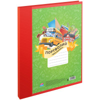 Папка-портфолио пластиковая А4 ArtSpace, на 2 кольцах для школьника, 10 файлов