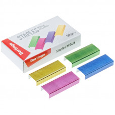 Скобы для степлера №24/6 Berlingo, цветные 1000шт.
