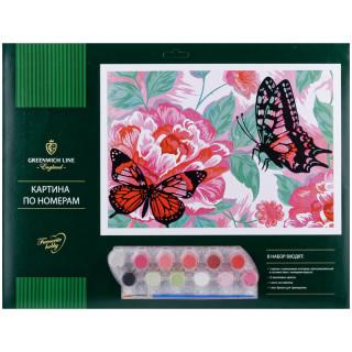 """Картина по номерам Greenwich Line """"Бабочки"""" A3, с акриловыми красками, картон, европодвес"""
