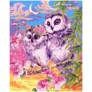"""Картина по номерам Greenwich Line """"Нежные совы"""", 40*50см, с акриловыми красками, холст"""