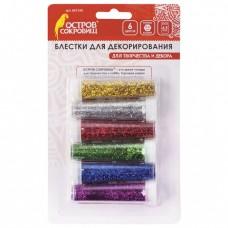 Блестки для декорирования ОСТРОВ СОКРОВИЩ, НАБОР, 6 цветов по 6,5 г, блистер