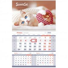 """Календарь квартальный 1 бл. на гребне OfficeSpace Mono premium """"Sweet cat"""", 2022г."""