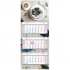 "Календарь квартальный 3 бл. на 3 гр. OfficeSpace Premium ""Berry delight"", 2022г."