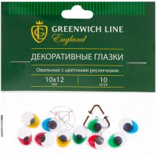 """Материал декоративный Greenwich Line """"Глазки"""", с цветными ресничками, овальные, 10*12мм, 10шт."""