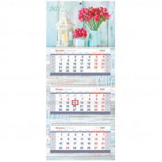 "Календарь квартальный 3 бл. на 3 гр. OfficeSpace Mini premium ""Freshness"", с бегунком, 2021г."