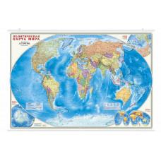 Карта настенная на рейках. Мир Политический. 101х69 см.