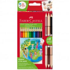 """Карандаши цветные Faber-Castell """"Дети мира"""", 12цв., трехгран, заточ.+6цв., карт. упак."""