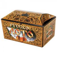 """Игра настольная """"Русское лото"""" в картонном ларце, 90 бочонков, жетоны, 24 карточки"""