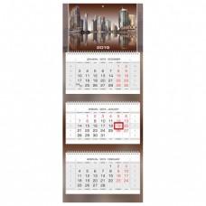 """Календарь квартальный на 2019 г., HATBER, """"Люкс"""", 3-х блочный, на 3-х гребнях, """"City Style"""""""