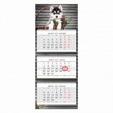"""Календарь квартальный на 2018 г., HATBER, Люкс, 3-х блочный, на 3-х гребнях, """"Год собаки"""""""