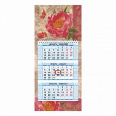 """Календарь квартальный на 2018 г., HATBER, Мини, 3-х блочный, на 1-м гребне, """"Flower melody"""""""