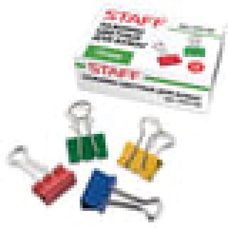 Зажимы для бумаг STAFF, комплект 12 шт., 19 мм, на 60 л., цветные