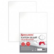 Картон белый А4 МЕЛОВАННЫЙ, 10 листов, в пленке, BRAUBERG, 200х290 мм