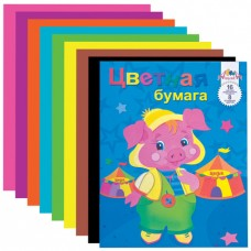 Цветная бумага А4 2-сторонняя газетная, 16 листов 8 цветов, на скобе, АППЛИКА, 200х255 мм