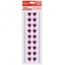 """Стразы самоклеящиеся """"Пурпурные сердца"""", 8-22 мм, 18 страз + 2 ленты, на подложке, ОСТРОВ СОКРОВИЩ"""