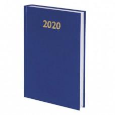 Ежедневник датированный 2020 А5, твердая обложка бумвинил, синий, 145х215 мм, BRAUBERG