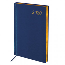 """Ежедневник датированный 2020 А5, BRAUBERG """"Iguana"""", под кожу рептилий, золотой срез, синий, 138х213 мм"""