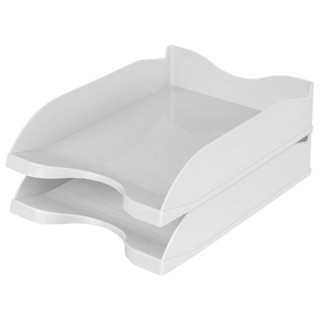 """Лоток горизонтальный для бумаг СТАММ """"Люкс"""", А4 (350х255х70 мм), серый"""