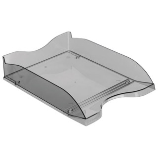 "Лоток горизонтальный для бумаг СТАММ ""Люкс"", А4 (350х255х70 мм), тонированный серый"