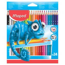 """Карандаши цветные MAPED (Франция) """"Pulse'"""", 24 цвета, пластиковые, трехгранные, заточенные, европодвес"""