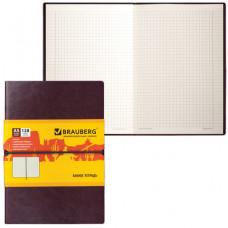 "Блокнот А5 (148х218 мм), BRAUBERG ""Western"", 128 л., гладкий кожзам, резинка, клетка, коричневый"