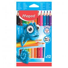 """Карандаши цветные утолщенные MAPED (Франция) """"Pulse'"""",12 цв,пластик,трехгр.,заточ."""