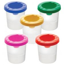 Стакан-непроливайка СТАММ, 5 цветов ассорти (красный, желтый, зеленый, синий, фиолетовый)