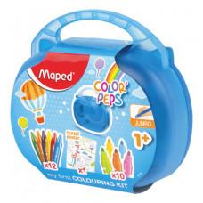 """Набор для творчества MAPED """"Color'Peps Jumbo"""", 10 фломастеров, 12 утолщенных восковых мелков, раскраска, пластиковый пенал"""