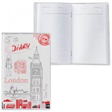 """Ежедневник недатированный, А6, 101х160 мм, 50 л., с шариковой ручкой, прозрачная обложка ПВХ, """"Лондон"""""""