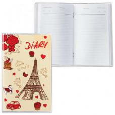"""Ежедневник недатированный, А6, 101х160 мм, 50 л., с шариковой ручкой, прозрачная обложка ПВХ, """"Париж"""""""